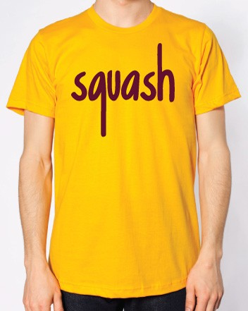 Squash Gold and Burgundy Flock Logo T-Shirt